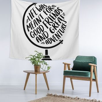Quote Globe Wall Tapestry