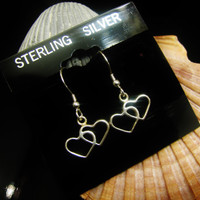 MOTHERS DAY GIFT Sale- Selling All Sterling Silver Earrings Double Hearts Wire Hanging Earrings Mom Grandma Nana