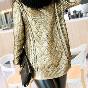 New Golden Patchwork Sequin Round Neck Fashion Pullover Sweater