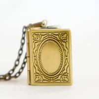 Tiny Book Locket - Tiny Vintage Style Antiqued Brass Book Locket Necklace - LN016