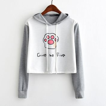 Give Me Five Cute Cat Claw Long Sleeve Hoodie Crop Tops Sweater