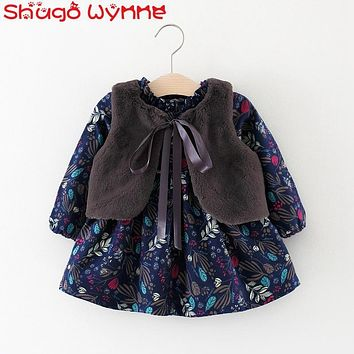 Winter Baby Girls Long Sleeve Vintage Floral Print Kids Tutu Dress + Faux Fur Fleece Waistcoat Infant Two Pieces Dresses vestido
