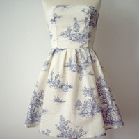 Blue And Cream Toile Cotton Strapless Dress.
