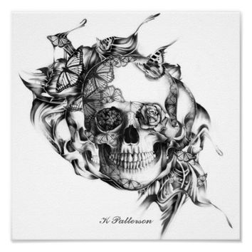 Skull and Butterflies Art Print