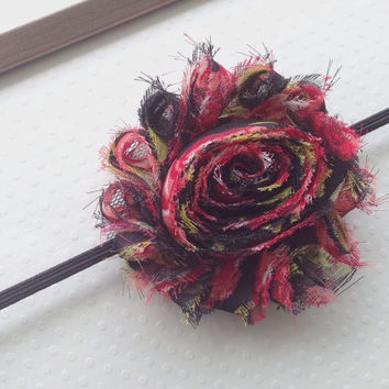 Black Red Floral Headband, Floral Headband, Shabby Chic Headband, Hair Accessory, Baby Headband, Teen Accessories, Newborn to Adult