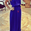 Blue Spaghetti Strap Drawstring Maxi Dress