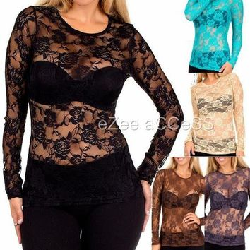 SeXY WoMeNS ToP SHeeR MeSH ViNTaGe 80 sty ViCToRiaN FLoRaL NeT LaCe BLouSe ToP