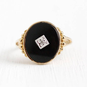 Vintage Onyx Ring - 10k Rosy Yellow Gold Black Onyx Gem & Diamond - Size 7 1/4 Retro 1950s Oval Chalcedony Gemstone Statement Fine Jewelry