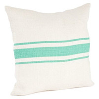 Colorful Striped Coastal Jute Throw Pillow (Sea Green, 20-in Square)