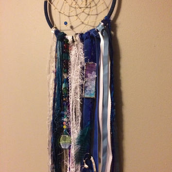 Blue Boho Dream Catcher With Soldered Charms and Beads