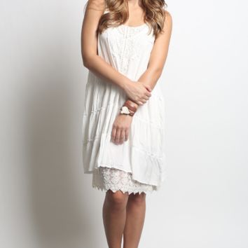Umgee Sleeveless Lace Tank Dress