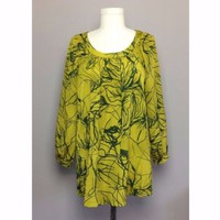 Simply Vera Wang Silky Oversized Flowy Green Blouse Sz M