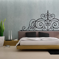 Headboard Vinyl Wall Decal Girls Bed Room Bredroom Wall Decor Headboard Wall Art Choose A Size
