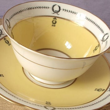 Antique Aynsley cup and saucer set, yellow tea cup set, English tea cup, black and yellow white bone china tea set, Antique tea cup saucer