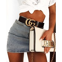 GUCCI Woman Men Fashion Smooth Buckle Leather Belt & J'a Dior Tote Handbag Shoulder Bag Wristlet