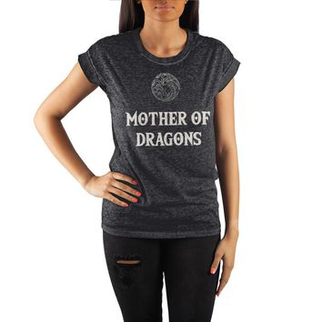 Game of Thrones Mother of Dragons Crew Neck Rolled Sleeve T Shirt