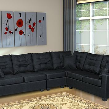New Century® Linen Upholstered Adjustable Large Sectional Sofa, Black