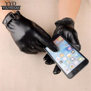 2017 New Fashion Men Winter Warm Soft Leather Touching screen Texting Driving Gloves Mittens Men Winter *1106