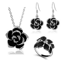 Black Painting Rose Flower Jewelry Set