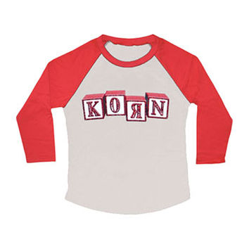 Korn  Blocks Girls Jr Raglan Long Sleeve Grey Rockabilia