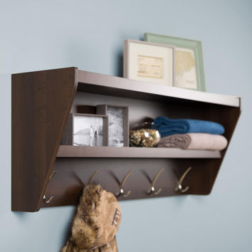 Floating Entryway Shelf & Coat Rack in Espresso