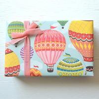 2 sheets HOT AIR BALLOONS fine paper, 19 x 26 inches, gift wrap, decorative paper, wrapping paper