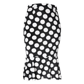 Polka Dot Fluted Skirt, Black and White