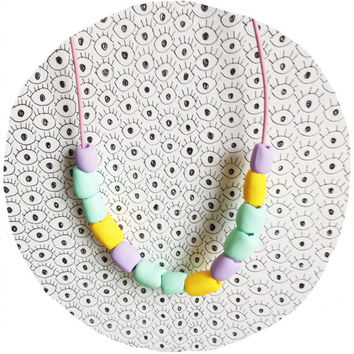 Polymer clay beaded necklace / geometric bright summer necklace