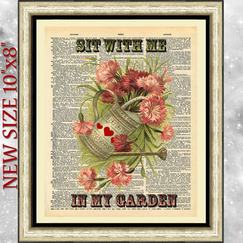 Old dictionary book page print. Antique wall art design garden. Dictionary wall hanging flowers. Poster artwork gardening. Family gift.