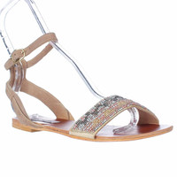 Steve Madden Jewells Ankle Lace Up Beaded Flat Sandals - Blush Multi