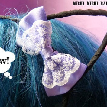 ONLY 1 LEFT! Black Cat Ears Bow Headband