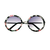 Retro Indie Fashion Cute Flower Print Large Round Sunglasses R2740