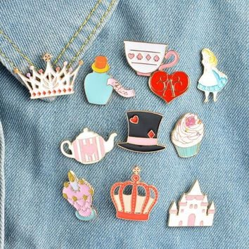 SMJEL New Cake Jeans Collar Alice in Wonderland Brooch Cartoon Set Crown Castle Enamel Pin Roller Skates Badge pins Girl Gifts