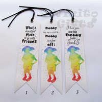 Dobby Bookmark - A fantastic gift for all Harry Potter fans, Gorgeous watercolor, rainbow Dobby silhouette, Harry Potter Bookmark