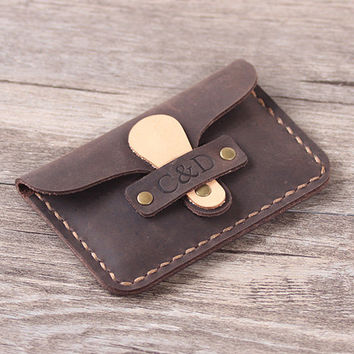 Personalized Leather Card Wallet - Distressed Credit Card Case - Handcrafted Leahter Business Card Case