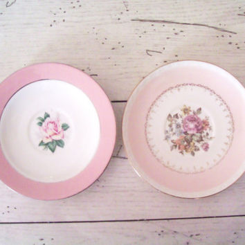 Vintage Pink  Saucers Homer Laughlin China by SeasideRoseCreations