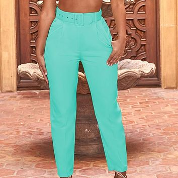 Autumn new ladies casual pants high waist solid color nine points straight trousers