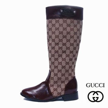 Fashion Online Gucci Women Fashion Leather Tube In Boots Flats Shoes