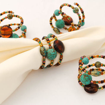 Beaded Napkin Rings - Set of Four - Teal and Brown - Southwestern - Serviette Rings