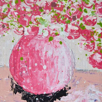 Giclee Print Still Life Flower Painting Pink and white roses