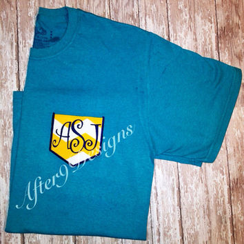 Women's monogram pocket t shirt Faux pocket by AfterNineDesigns