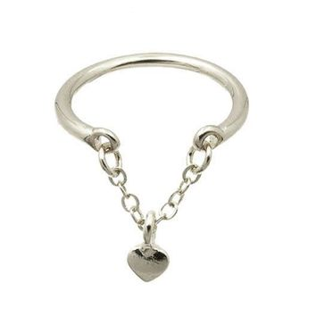 Sliver Heart Charm Knuckle Ring