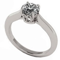 Unique Engagement Ring 1 carat Yellow gold Swirl Prongs Trellis Diamond Solitaire Ring 14K Solid White Gold