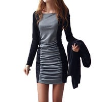 Grey and Black Long Sleeve Bodycon Ruched Mini Dress