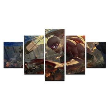 Cool Attack on Titan 5 Pcs Canvas  Painting For Living Room Wall Art Decor Mikasa Armor giant Picture Modern Artwork Animation Poster AT_90_11