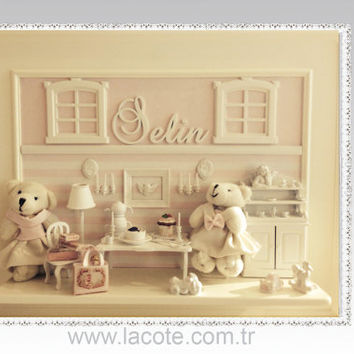 Nursery miniature and teddy bears wall art