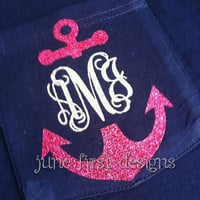 Monogram Pocket  Anchor Glitter Tee T-Shirt