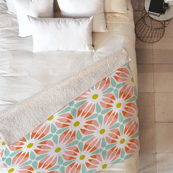 Heather Dutton Crazy Daisy Sorbet Fleece Throw Blanket