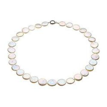 Sterling Silver and Freshwater White Cultured Coin Pearl Necklace - 18 Inch/13-14 MM