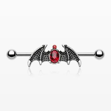 Gothic Ruby Sparkle Bat Industrial Barbell